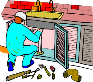 Plumber Fixing Kitchen Sink picture