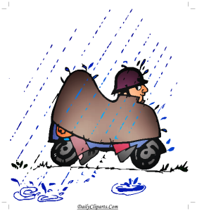 2 Men on Scooter Covered under Rain