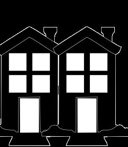 2 Neighbour Houses Black Icon Image