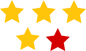 4 Yellow 1 Red Star Rating Clipart Photos
