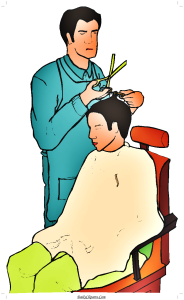 Barber Cutting Hair Saloon Clipart Image