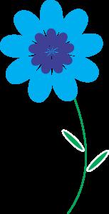 Blue Color Flower Design Clipart