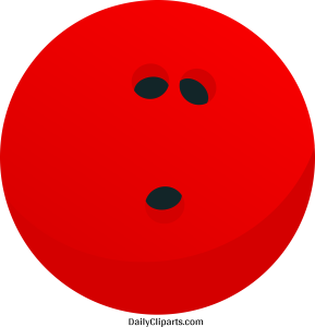 Bowling Ball Red Colour Clipart Image
