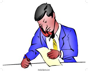 Business Man talking on Phone and Writing on Paper