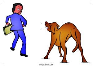 Dog Barking on Man Clipart Picture