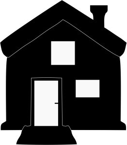 House with Chimney Black Icon Image