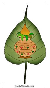 Kalash on Pan Patta Clipart