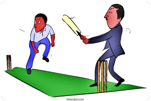 Men playing Cricket on Green Pitch Image