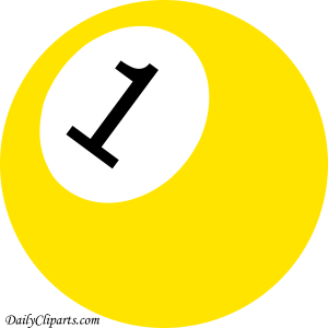 Number 1 Pool Ball Yellow Color Clipart Icon