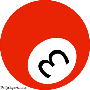 Number 3 Pool Ball Red Color Clipart Icon