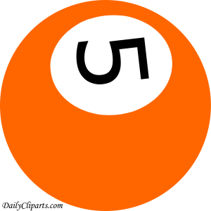 Number 5 Pool Ball Orange Color Clipart Icon
