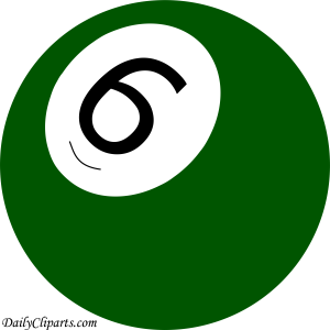 Number 6 Pool Ball Green Color Clipart Icon