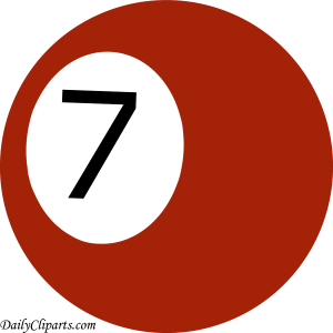 Number 7 Pool Ball Maroon Color Clipart Icon