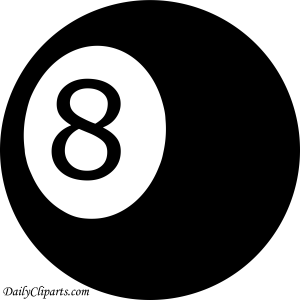 Number 8 Pool Ball Black Color Clipart Icon