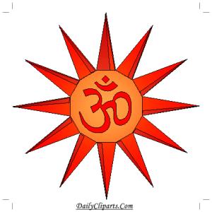 Om is Sun Shape Clipart