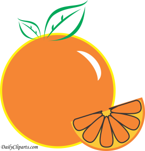 Orange Fruit with Piece Design Clipart Image for Kids Learning