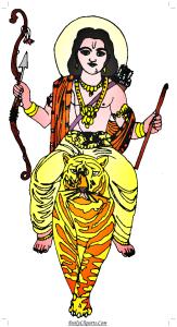 Shri Ram on Tiger Clipart Image