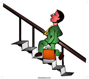 Staircase climbing Man Clipart Image