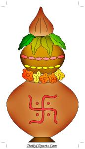 Swastik Nariyal Kalash Icon for Wedding Invitation