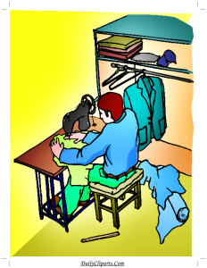 Tailor with Sewing Machine Clipart Image