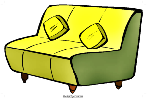 Yellow Sofa with Cushions Clipart