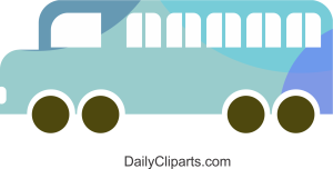 Blue School Bus for Free Commerical Use Image