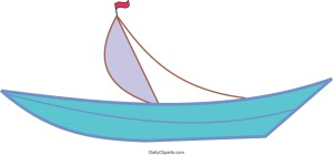 Boat with Red Flag Image Clipart