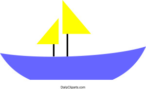 Boat with Yellow Flag Clipart