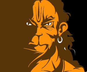 Brown Orange Hanuman Attitude