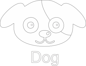 Dog Face Line Art Black White Image