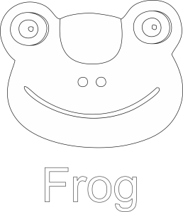 Frog Face Black and White Line art Image