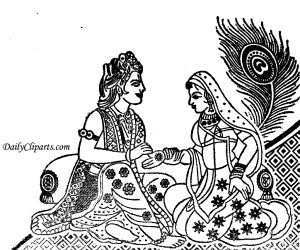 Radha Krishna Style Dulha Dulhan with Mor Pank