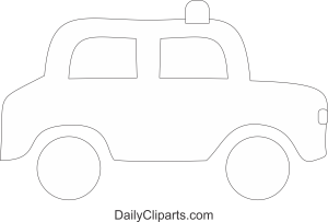 Red Beacon Black White Car Clipart Image
