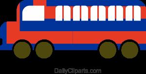 School Bus Blue Red Mix Color Design