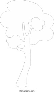 Tree Black White Line Art Coloring Page