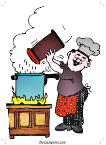 Chef Preparing Dinner Clipart Image