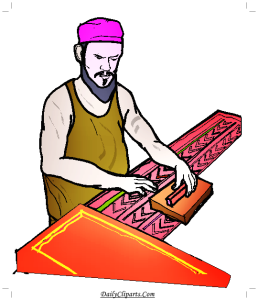 Labor doing Block Printing Clipart