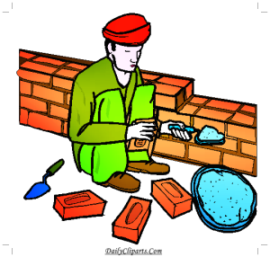 Labour Constructing Wall with Brick and Cement