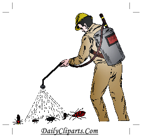 Pesticides Spraying on Insects by Worker Image