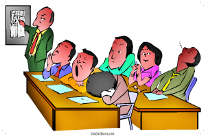 Boring Lecture Student Sleeping Yawning Clipart Image