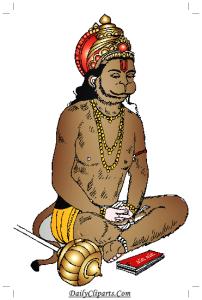 Hanuman doing Bhakti Sri Ram