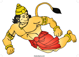 Hanuman ji Flying Cartoon Image