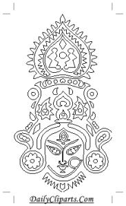 Maa Durga Picture Black White