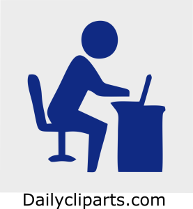 Employee working on Laptop on Desk Chair