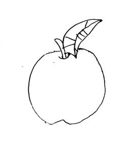 Green Apple Black Line Art Icon